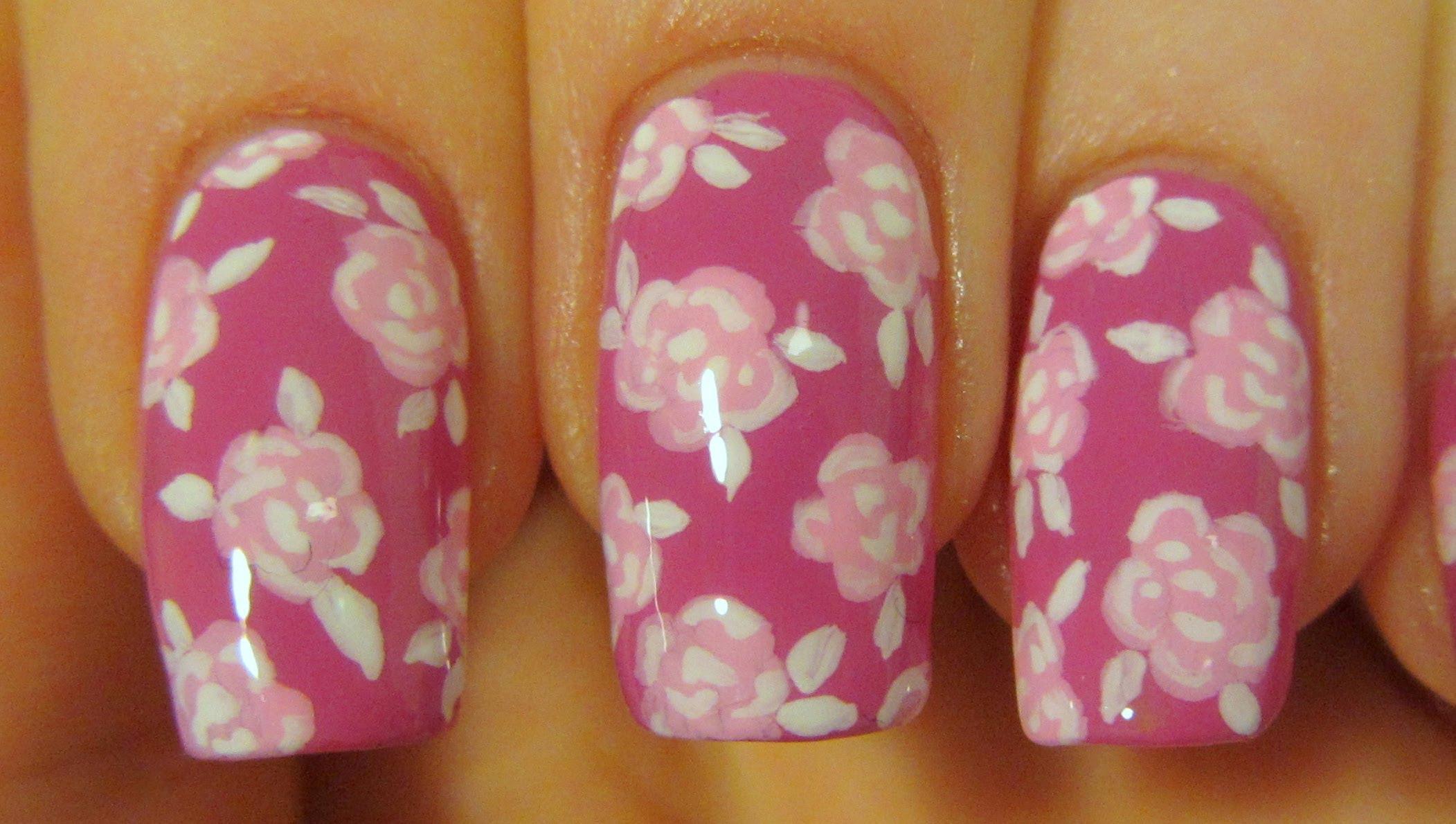 Easy All Pink Romantic Vintage Rose Print Design Nail Art Tutorial